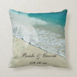 "Tropical Beach Wedding Throw Pillow<br><div class=""desc"">Create a keepsake gift to commemorate an island destination marriage when you personalize the pretty Tropical Beach Wedding Pillow with the names of the bride and groom and date they were married. This pretty custom tropics theme throw pillow features a nature photograph of a sandy seashore with the aqua blue...</div>"
