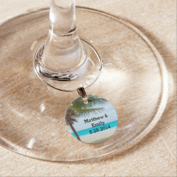 Tropical Beach Wedding Wine Charm