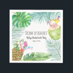 """Tropical Beach Weekend Bachelorette Cocktail Napkin<br><div class=""""desc"""">Cocktail napkin features tropical pineapple drinks. Perfect for bachelorette or cocktail parties.</div>"""