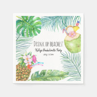 Tropical Beach Weekend Bachelorette Cocktail Napkin