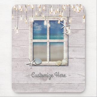 Tropical Beach Window White Wood Elegant Chic Mouse Pad