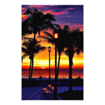 TROPICAL BEACH WISH YOU WERE HERE CUSTOM POSTCARD STATIONERY