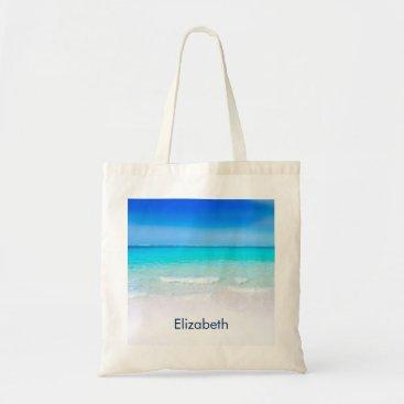 Beach Themed Tropical Beach with a Turquoise Sea Custom Tote Bag