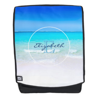 Tropical Beach with a Turquoise Sea Monogram Backpack