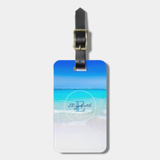 Tropical Beach with a Turquoise Sea Monogram Bag Tag