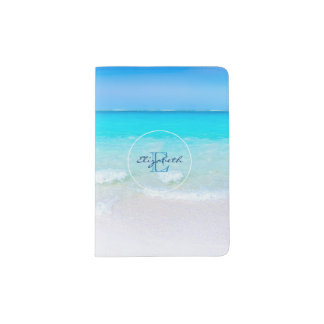 Tropical Beach with a Turquoise Sea Monogram Passport Holder