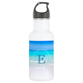 Tropical Beach with a Turquoise Sea Monogram Stainless Steel Water Bottle