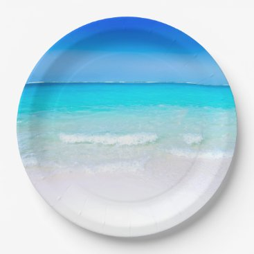 Beach Themed Tropical Beach with a Turquoise Sea Paper Plate