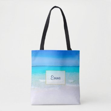 Beach Themed Tropical Beach with a Turquoise Sea Personalized Tote Bag