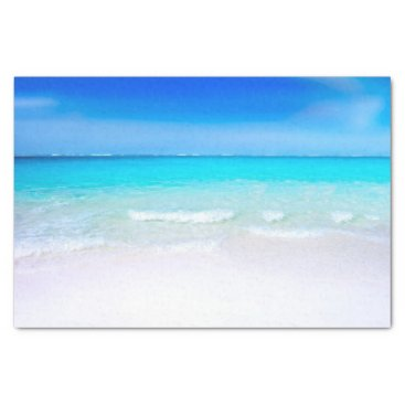Beach Themed Tropical Beach with a Turquoise Sea Tissue Paper