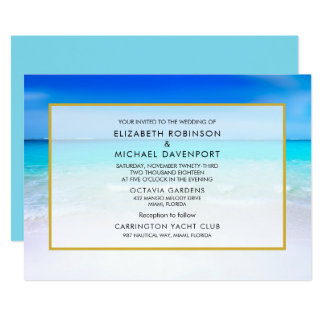 Tropical Beach with a Turquoise Sea Wedding Card