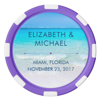 Tropical Beach with a Turquoise Sea Wedding Poker Chips Set