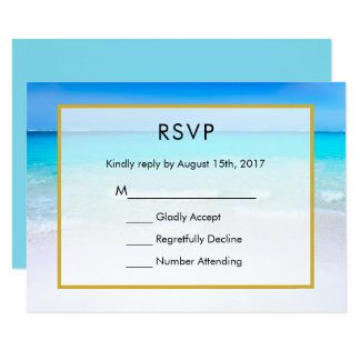 Tropical Beach with a Turquoise Sea Wedding RSVP Card