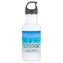 Tropical Beach with a Turquoise Sea Wedding Stainless Steel Water Bottle