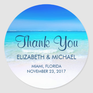 Tropical Beach with a Turquoise Sea Wedding Thanks Classic Round Sticker