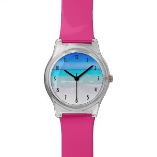 Tropical Beach with a Turquoise Sea Wrist Watch