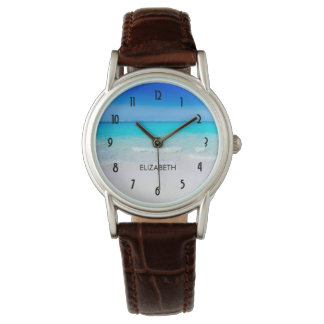 Tropical Beach with a Turquoise Sea Wristwatch