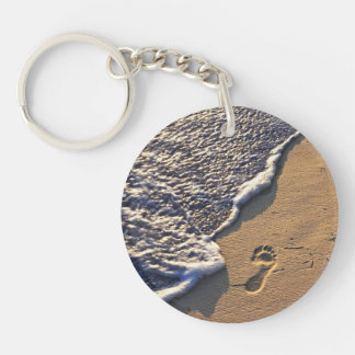 Tropical beach with footprints Double-Sided round acrylic keychain