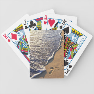 Tropical beach with footprints bicycle poker deck