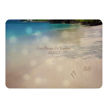 Tropical Beach with Initials in the Sand Card