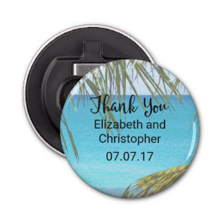 Tropical Beach with Palm Fronds Wedding Thanks Bottle Opener