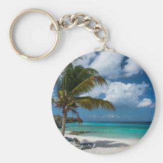 Tropical Beach with Palm Tree Keychain