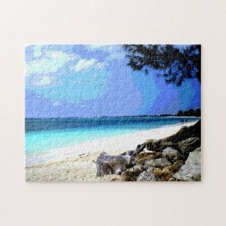 Tropical Beach with Rocks Jigsaw Puzzle