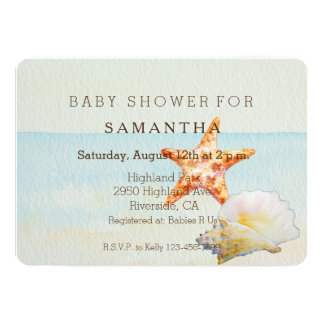Tropical Beach with Starfish and Conch baby shower Card