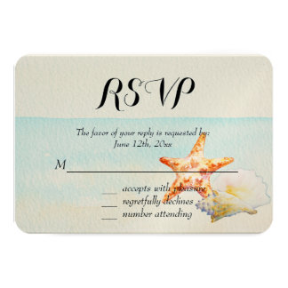 Tropical Beach with Starfish and Conch RSVP Card