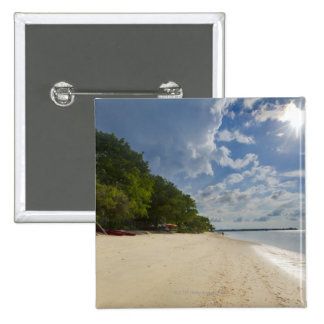 Tropical Beach With Sunrise Pinback Button
