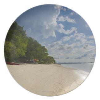 Tropical Beach With Sunrise Plate