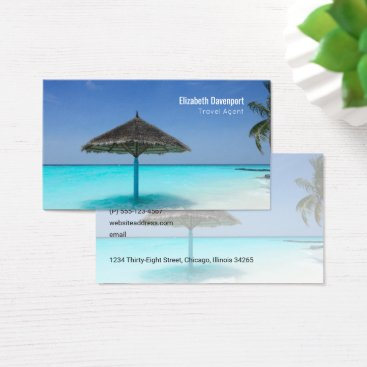 Beach Themed Tropical Beach with Thatched Umbrella Travel Business Card