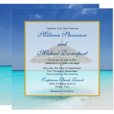Beach Themed Tropical Beach with Thatched Umbrella Wedding Card