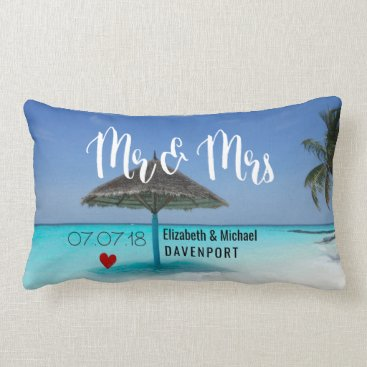 Tropical Beach with Thatched Umbrella Wedding Lumbar Pillow