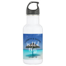 Tropical Beach with Thatched Umbrella Wedding Stainless Steel Water Bottle