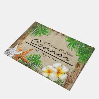 Tropical Beach Wood Style Doormat  | Zazzle