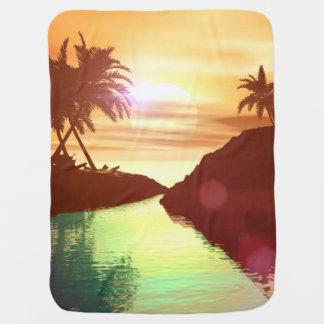 Tropical , Beautiful sunset on the lake Swaddle Blanket