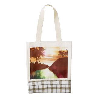 Tropical , Beautiful sunset on the lake Zazzle HEART Tote Bag