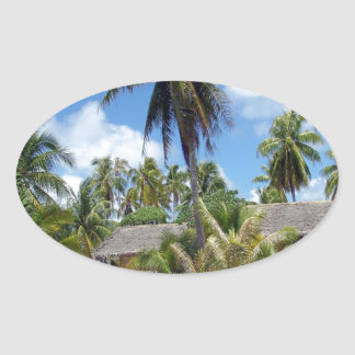 Tropical Bed And Breakfast Oval Stickers