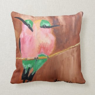 Tropical Bee Eater Birds Throw Pillow