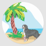 tropical bernese mountain dog stickers