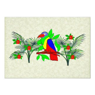 Tropical Bird and Flowers 5x7 Paper Invitation Card