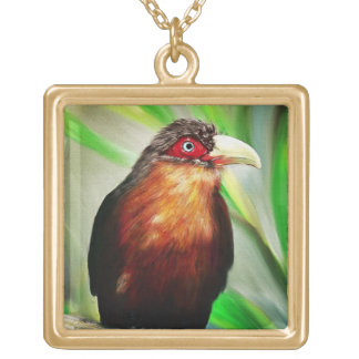 Tropical Bird cool colourful exotic painting Gold Plated Necklace