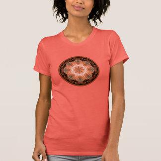 Tropical bird feather circle flamingo salmon white t-shirt