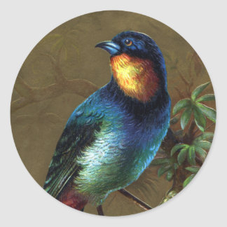 Tropical Bird Happy New Year Classic Round Sticker