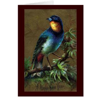 Tropical Bird Happy New Year Greeting Card