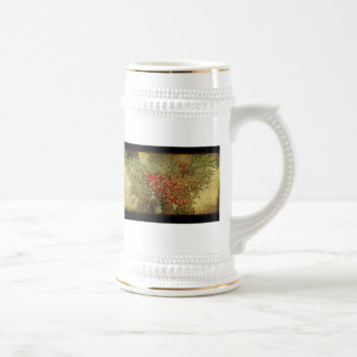 Tropical Bird Nesting in Christmas Palm Tree Beer Stein