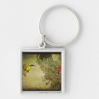 Tropical Bird Nesting in Christmas Palm Tree Keychain