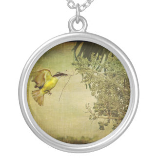 Tropical Bird Nesting in Christmas Palm Tree Round Pendant Necklace