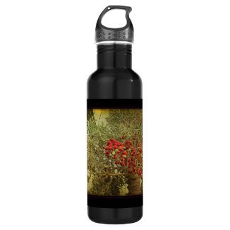 Tropical Bird Nesting in Christmas Palm Tree Water Bottle